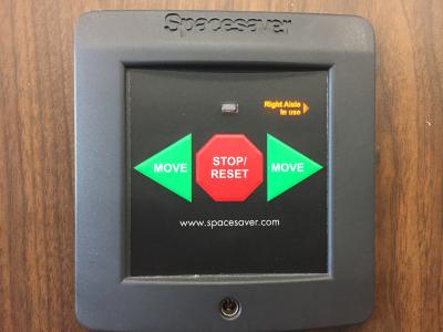 Mobile shelving control buttonsd